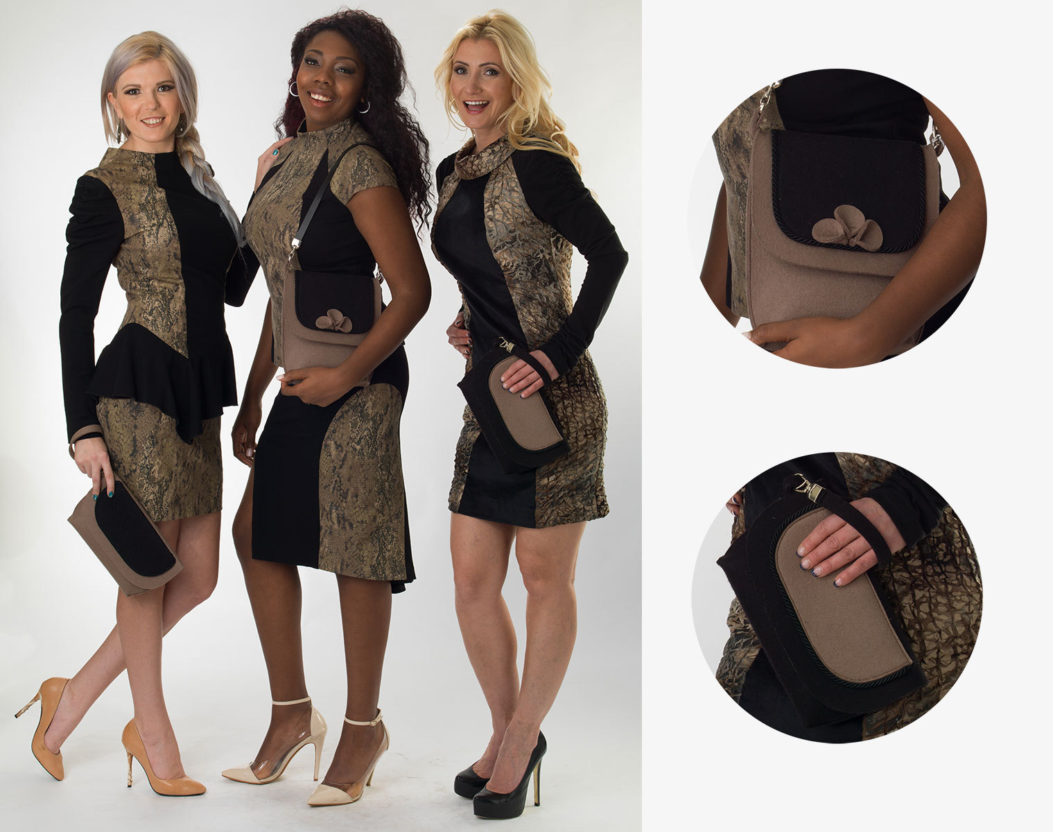 Animal print trio with matching clutch bags
