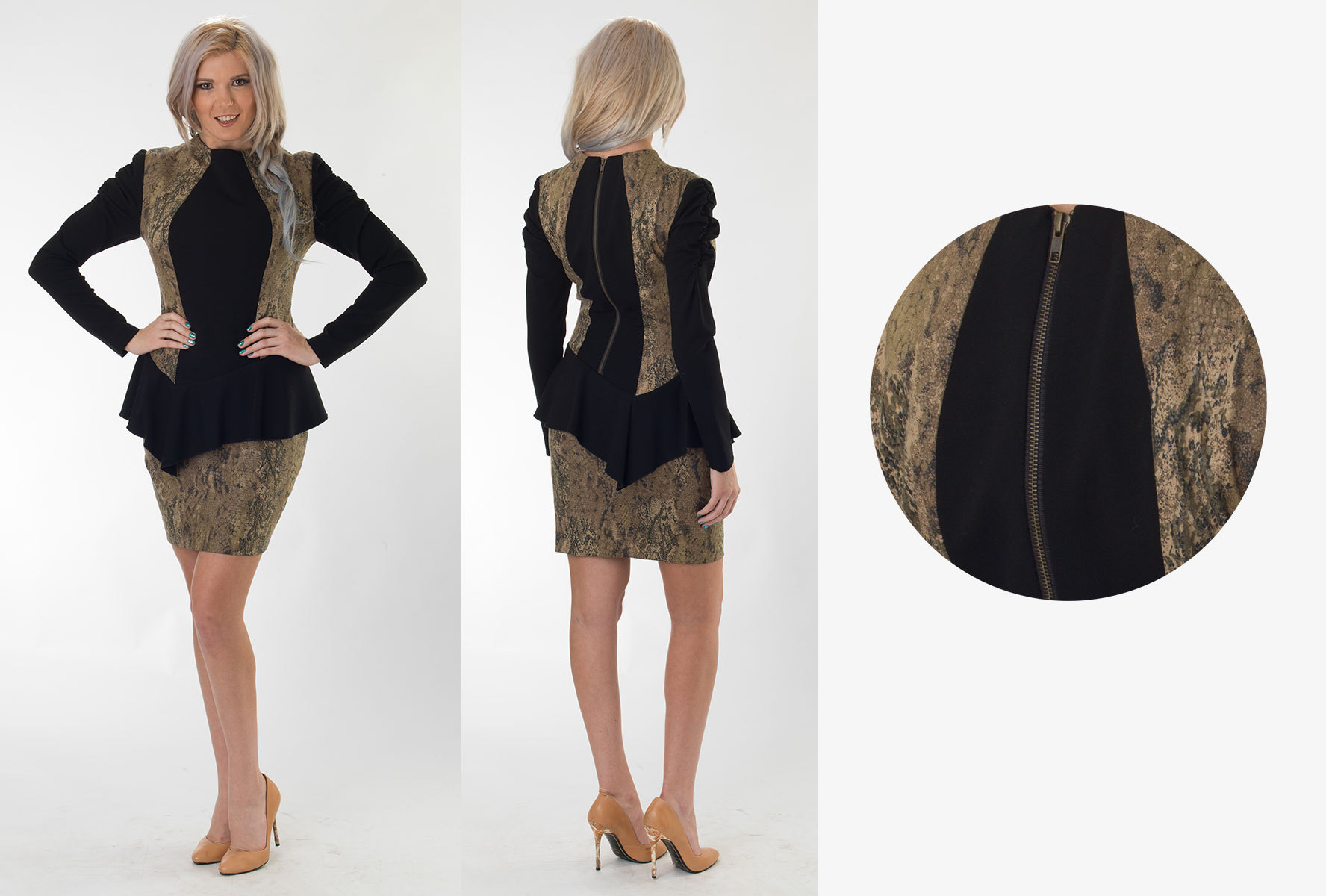 Snake Twill/Black Peplum Dress