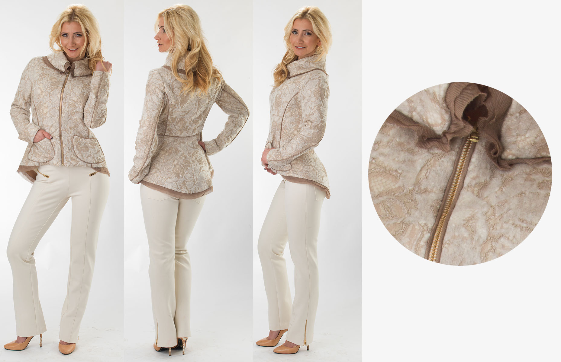 White/Taupe Lace Jacket &  014-017