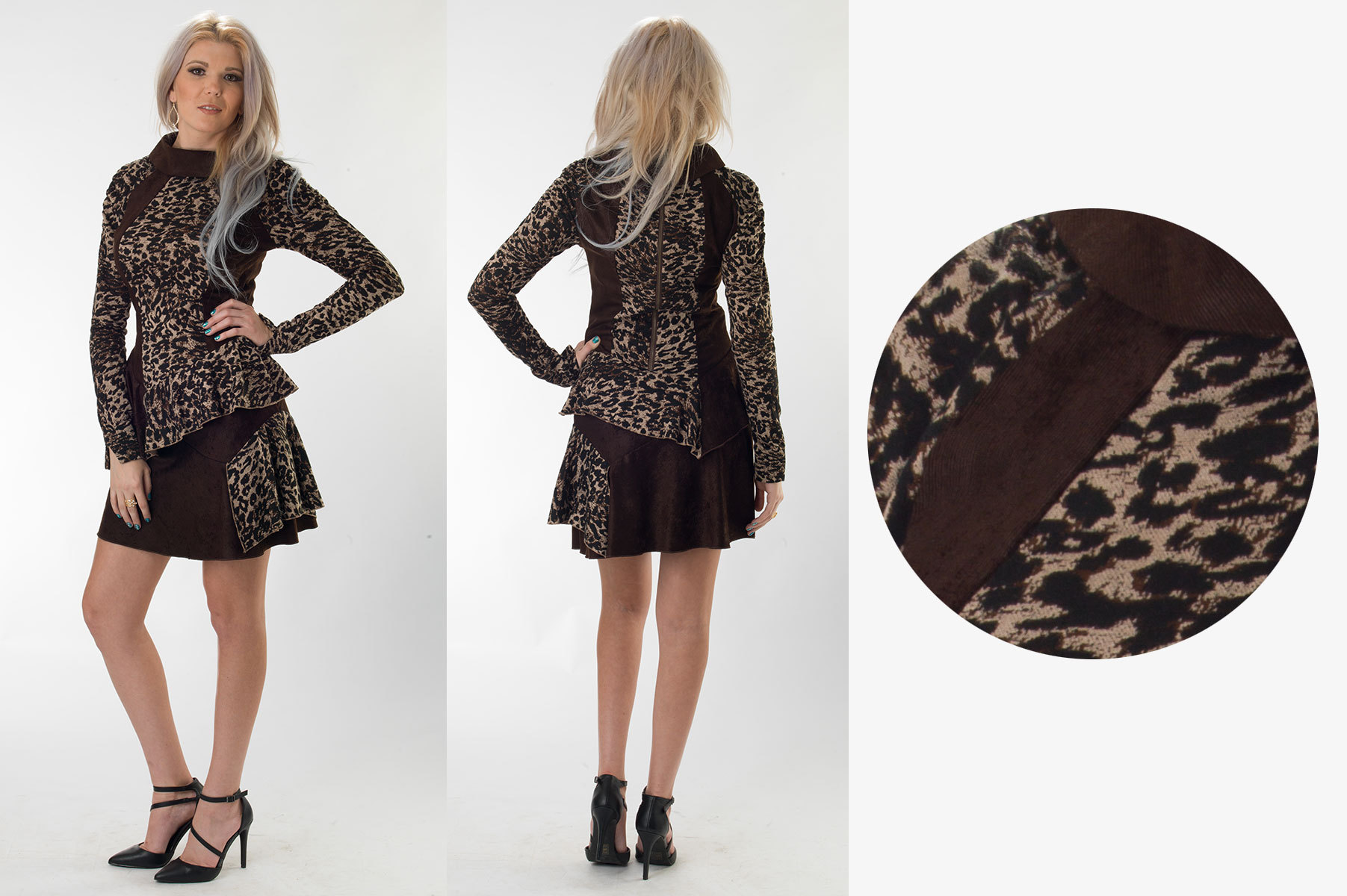Animal-Print Brown Courduroy A-Line Skirt Dress