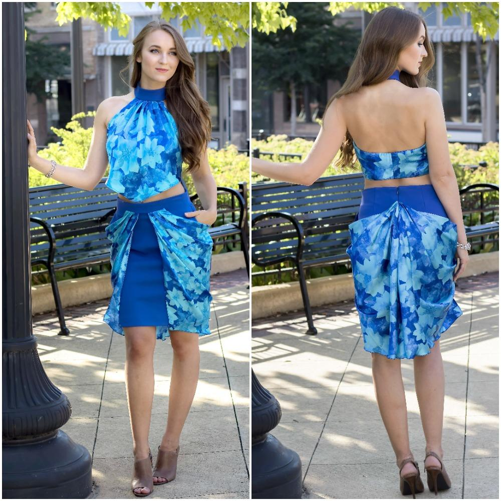 Royal Blue with Print - 2 Piece Set