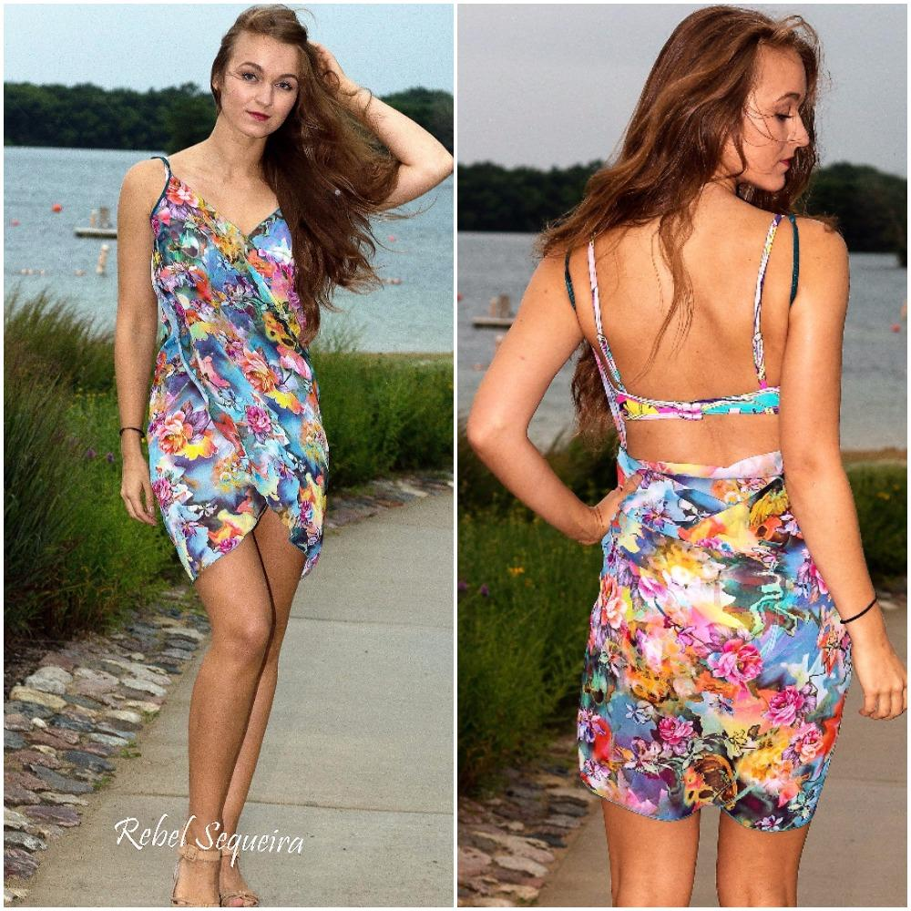 503-Style 7 Short wrap-around multi - flower cover up