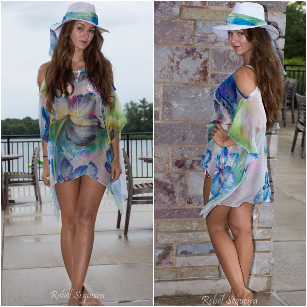 508-(Style #3) short hand-painted flower chiffon beach cover up