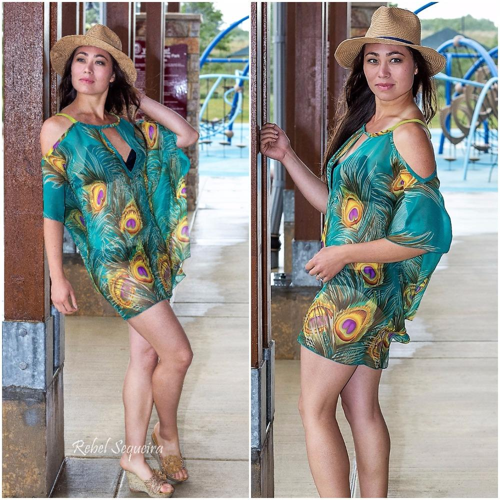 609-Style 3 Green peacock print short chiffon cover up