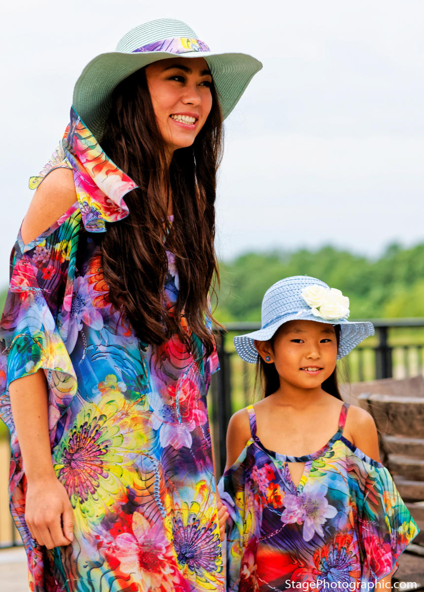 604-(Style #1) Mother--603- (Style #2) Daughter long flower chiffon beach cover ups