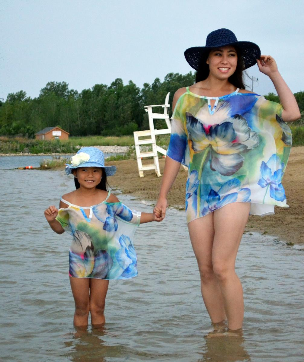 508 adults/509 kids Style 3 short hand-painted flower chiffon cover up