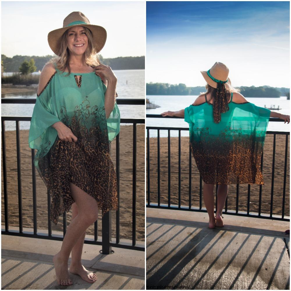 708-(Style #3) short green african print chiffon beach cover up