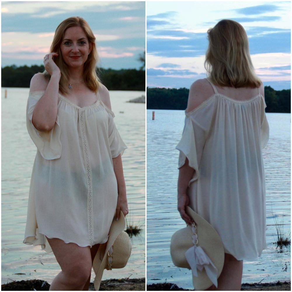 705-(Style 8)-Bridal crochet trim off white cover up