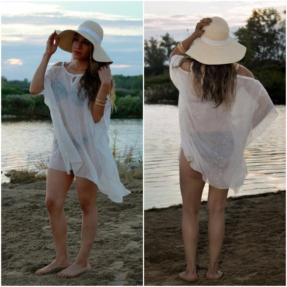 804- Style 3 short Bridal shimmer chiffon cover up