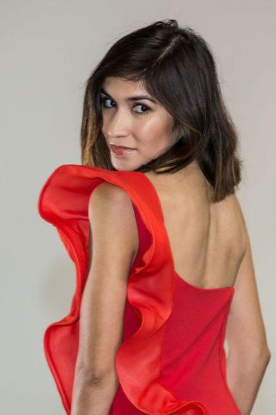 Fire Red Asymmetrical Dress with Chiffon Ruffle