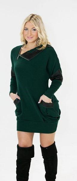 716- asymmetrical wool tunic with leather detail