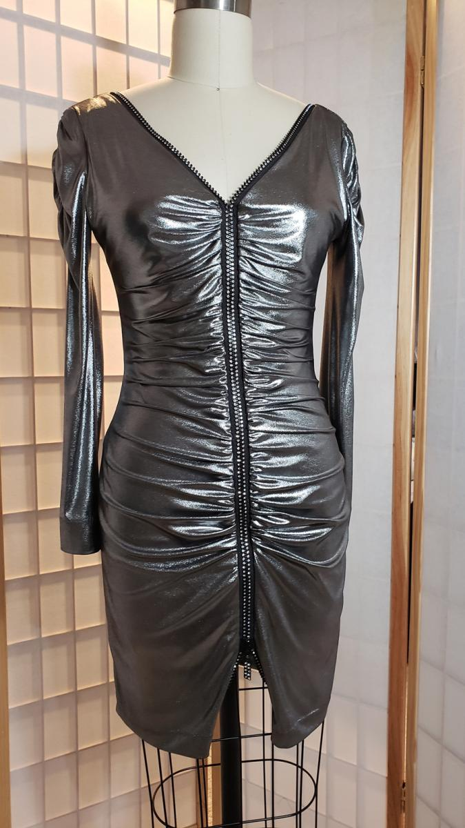 Rouched rhinestone zipper silver dress