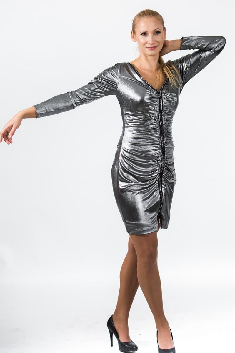 Rushed rhinestone zipper silver dress